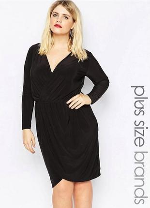 Платье на запах черное, с длинным рукавом