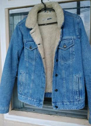 Теплая джинсовая куртка на меху