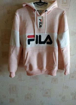 Худи толстовка свитер с капюшоном утепленный зимний Fila