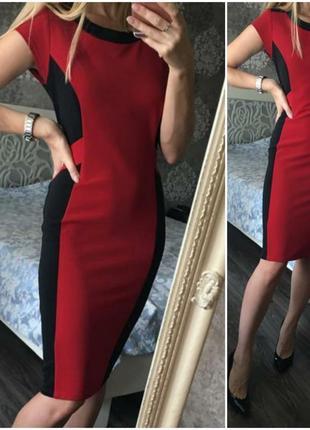 Красное с черным платье футляр, вишнёвое, силуэтное, текстурно...
