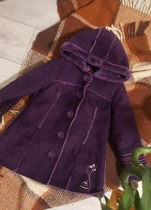 Очень крутая дубленка шубка пальто на девочку еврозима 5 лет 1...