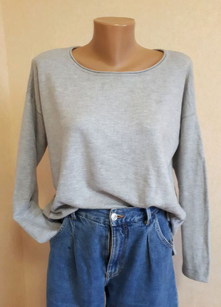 Серый свитер h&m оверсайз свитшот джемпер кофта