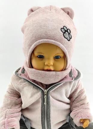 Детская шапка с ушками ангоровая 48 по 52 размер теплая на флисе