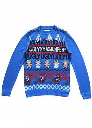 Рождественский, новогодний мужской вязаный джемпер свитер, пол...