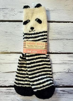 Носки теплі теплые мягкие пухнасті пушистые с ушками панда