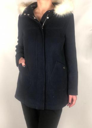 Укороченное пальто с меховым капюшоном topshop p.10/38