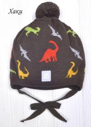 Детская двойная шапка с завязками для мальчика от 2 лет