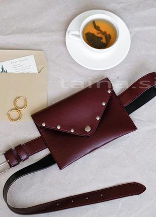 Базовая бордовая сумка на пояс бордовая поясная сумочка клатч ...