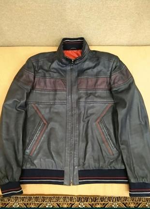 Кожаная мужская спортивная куртка