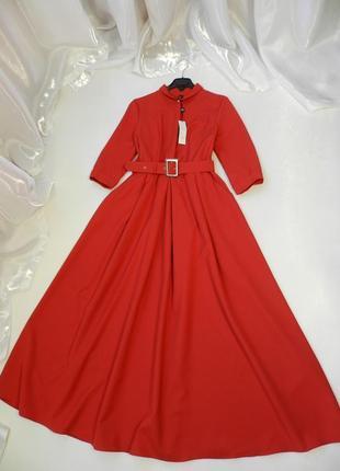 Шикарное платье  в пол с пышной юбкой и карманами, поясок в ко...