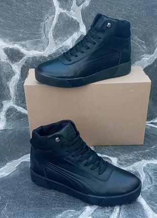 Мужские зимние ботинки puma classic winter boots черные,кожаны...