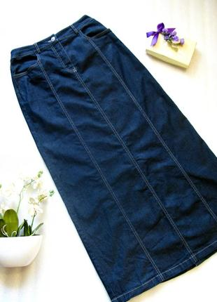 Длинная в пол приталенная джинсовая юбка  спідниця на демисезо...