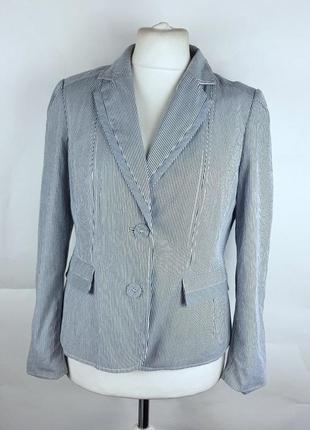Классический пиджак жакет блейзер в полоску приталенный из хло...
