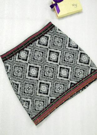 Трендовая легкая короткая мини юбка в принт с вышивкой от atmo...
