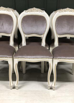 Красивые обеденные стулья, без подлокотников,в классическом стиле