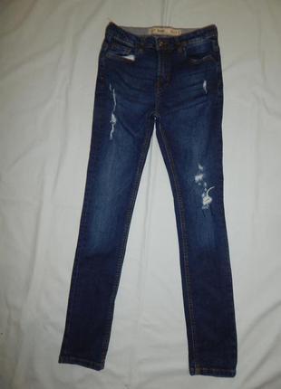 Джинсы стреч модные с потертостями на 12-13 лет skinny 158 см