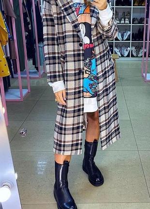 Кашемировое тёплое пальто в клетку оверсайз. пальто прямое осень