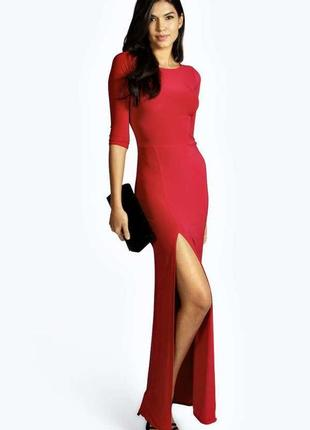 Шикарное яркое нарядное длинное красное платье макси на праздн...