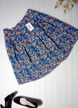 Крутая синяя юбка спідниця в цветочный принт в винтажном стиле...