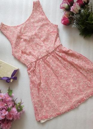 Распродажа ажурное розовое платье сукня сарафан короткое от at...