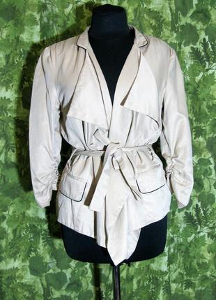 Базовый бежевый жакет пиджак куртка накидка на осень демисезон...