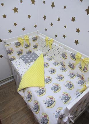 Комплект в кроватку: бортики, плед-конверт 2в1, простынь, защи...