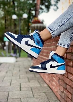 Женские кожаные кроссовки nike air jordan 1 blue найк