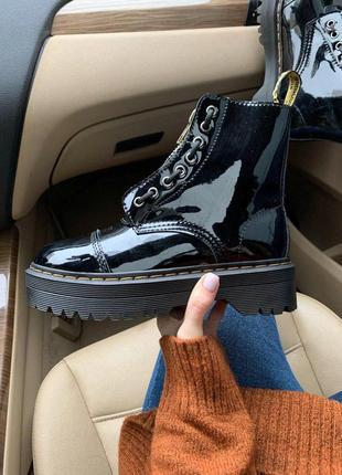 Шикарные кожаные ботинки dr. martens jadon patent black fur