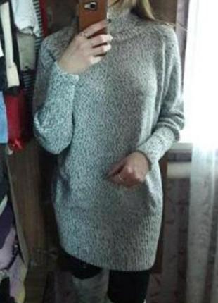 Платье - свитер зима-осень под горло