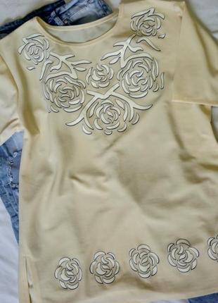 Блуза принт розы