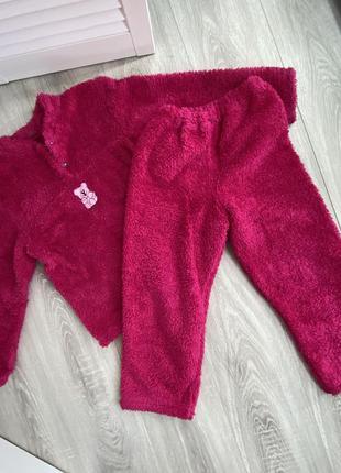 Пижама детская теплая зима осень махровая розовая