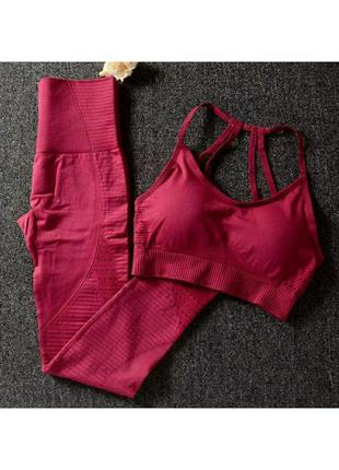 Женский бесшовный комплект костюм для фитнеса топ лосины с выс...