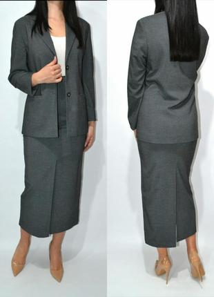 Костюм удлиненный пиджак юбка миди высокая посадка primark.