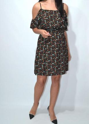 Платье с воланами цветочный принт f&f.