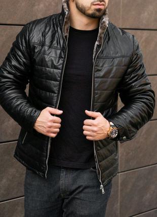 Мужская зимняя куртка на меху из эко кожи
