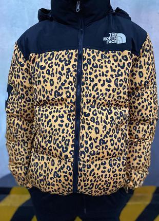 Акция пуховик зимняя куртка supreme tnf leopard