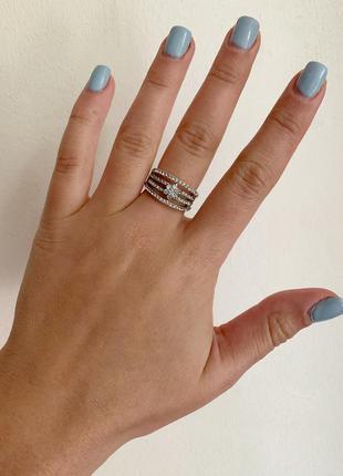 Женское кольцо серебристое 17 размер, кольцо покрытие родий