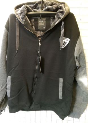Куртка Батник мужской тёплый трикотажный на меху с капюшоном