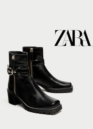 Крутые кожаные демисезонные ботинки с квадратным мысом от zara