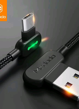 USB-Micro USB  кабель светодиодный  MCDODO 1.2 м, быстрый 3А заря