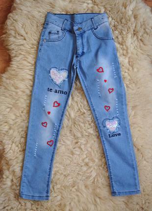 Модные летние джинсы для девочки, турция, пайетки, вышивка, от...