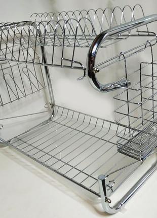 Сушилка сушка, подставка для посуды хромированная , металличес...