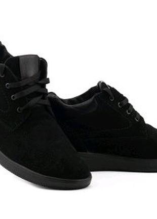 Мужские ботинки замшевые зимние черные Vankristi 650