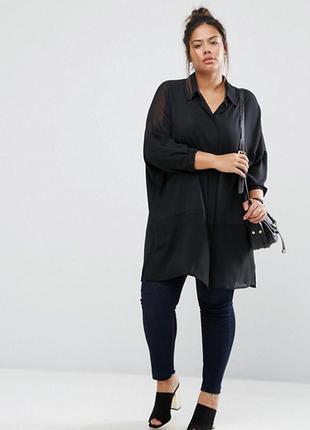 Черная длинная рубашка платье с разрезами туника женская батал...