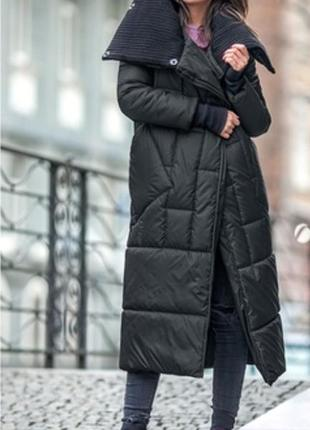 Пуховик зимний плащ куртка миди  длинный