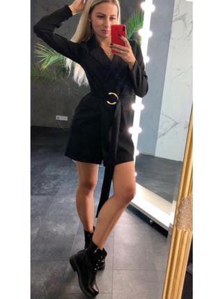Платье -пиджак на запах с поясом