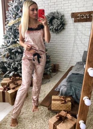 Домашний костюм пижама бархатная велюровая с/м