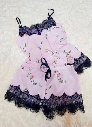 Пижама софт с кружевом домашний костюм комплект