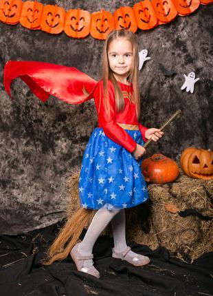 Карнавальный костюм платье супергероиня 4 - 6 л 110 116 хэллоуин
