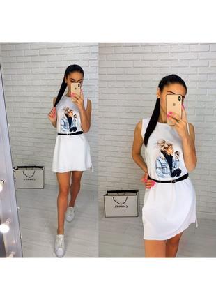 Платье мини с принтом летнее белое